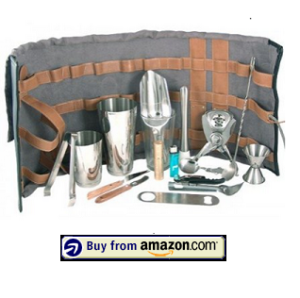 Leather Tool Roll Bartending Kit